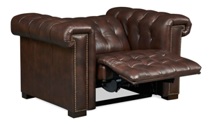 Churchill Chesterfield Walnut Leather Power Recliner
