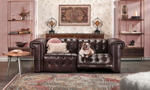 Churchill Chesterfield Walnut Leather Power Reclining Sofa