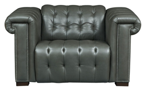 Picture of Churchill Chesterfield Pewter Leather Power Recliner