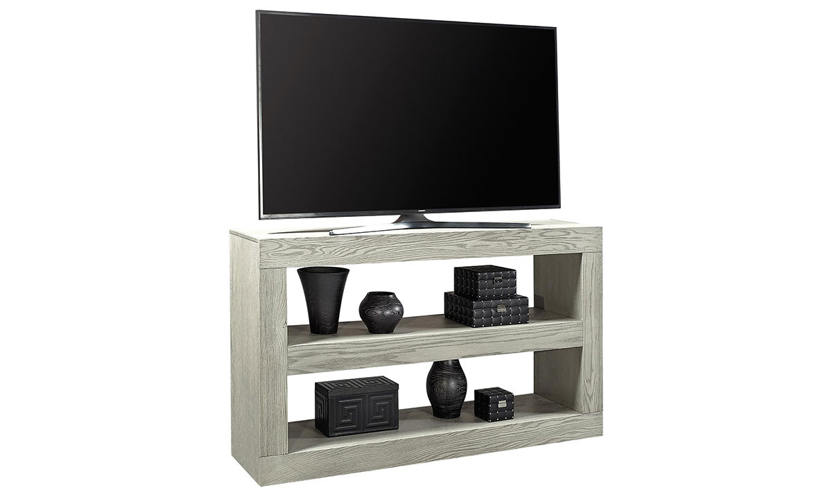 Modern 65-inch double open console table in heather gray finished used as TV stand with 2 lower shelves