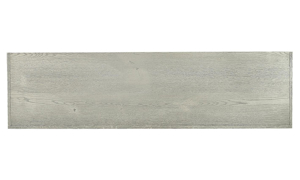 Closeup shot of wirebrushed heather gray finish of double open console table from Aspenhome