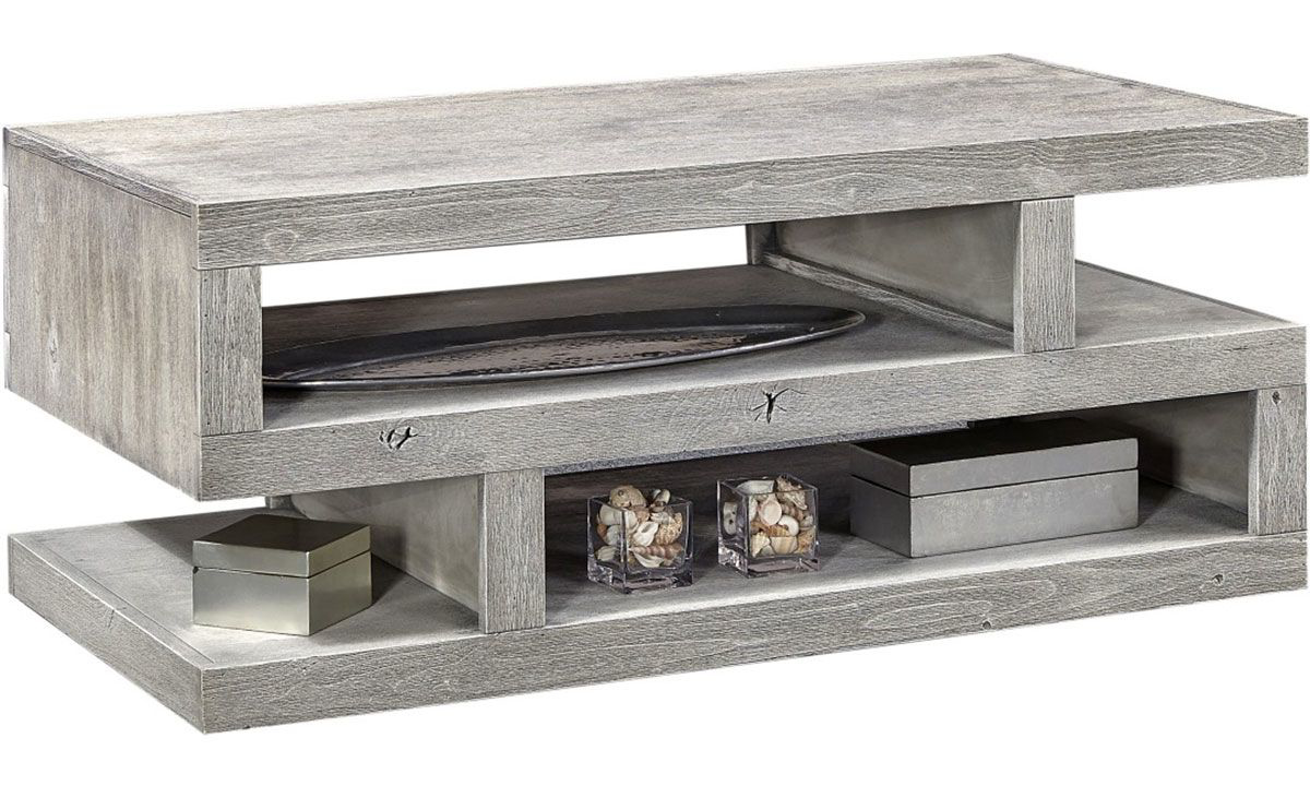 Sleek and modern 74-inch s-shaped console table with 2 shelves in wirebrushed heather gray finish