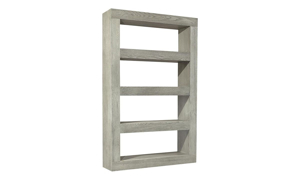 Modern 73-inch tall display shelf with 4 fixed shelves in heather gray