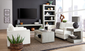 Contemporary white, black and gray living room with Aspenhome 73-inch display case in heather gray