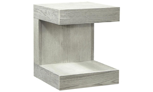 Modern 26-inch tall end table with upper and lower shelf in heather gray wirebrushed finish