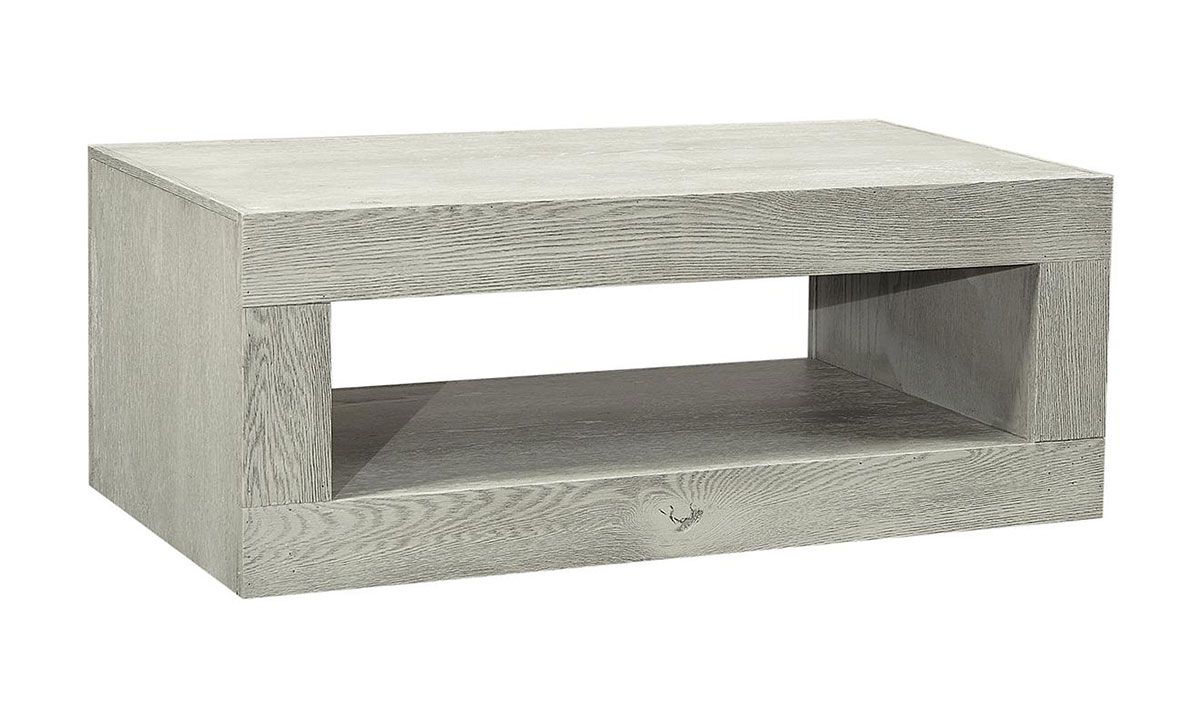 Modern 49-inch cocktail table with lower shelf in heather gray wirebrushed finish