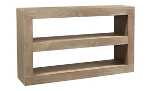 Modern 65-inch open console table with 2 shelves in taupe finish