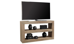 Contemporary 65-inch open console table used at TV stand with 2 shelves in taupe finish