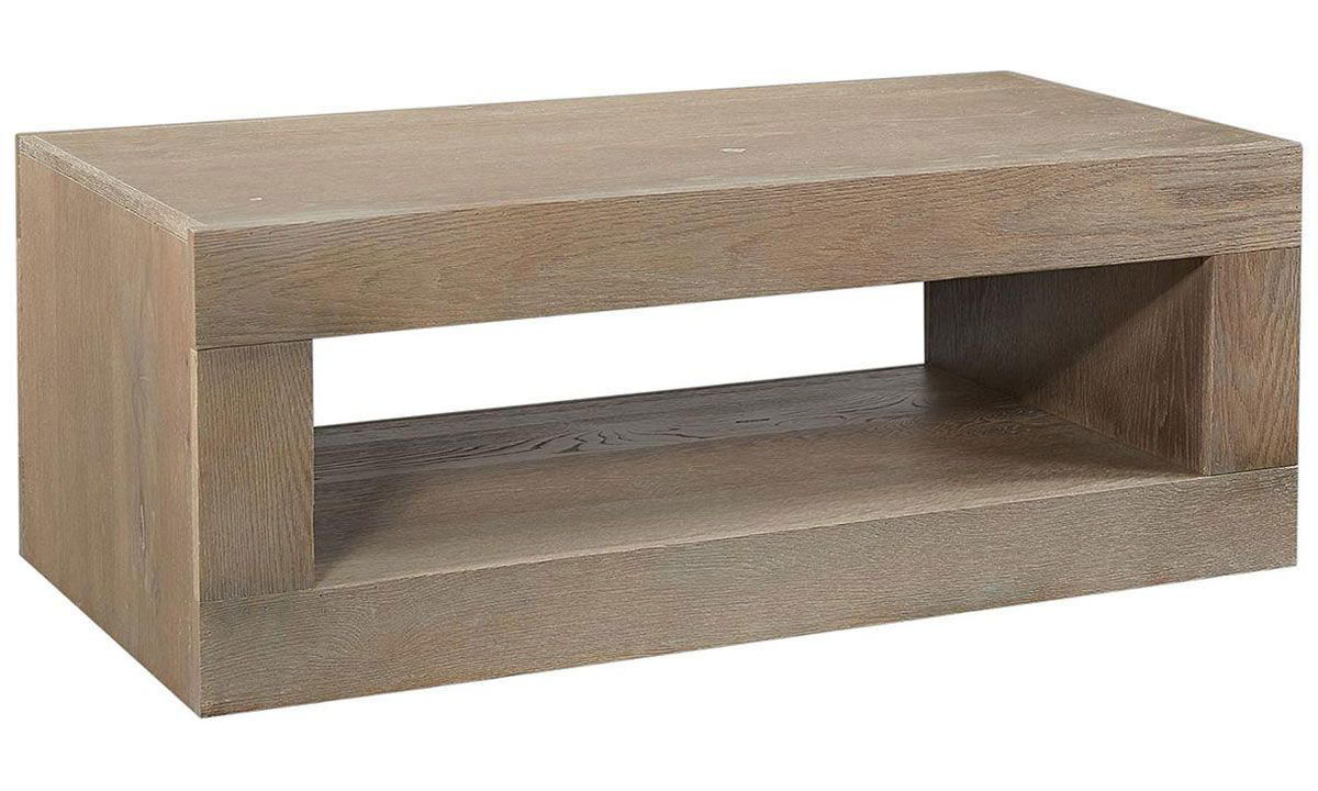 Modern 49-inch wide open console cocktail table with lower shelf crafted from oak wood solids in taupe finish