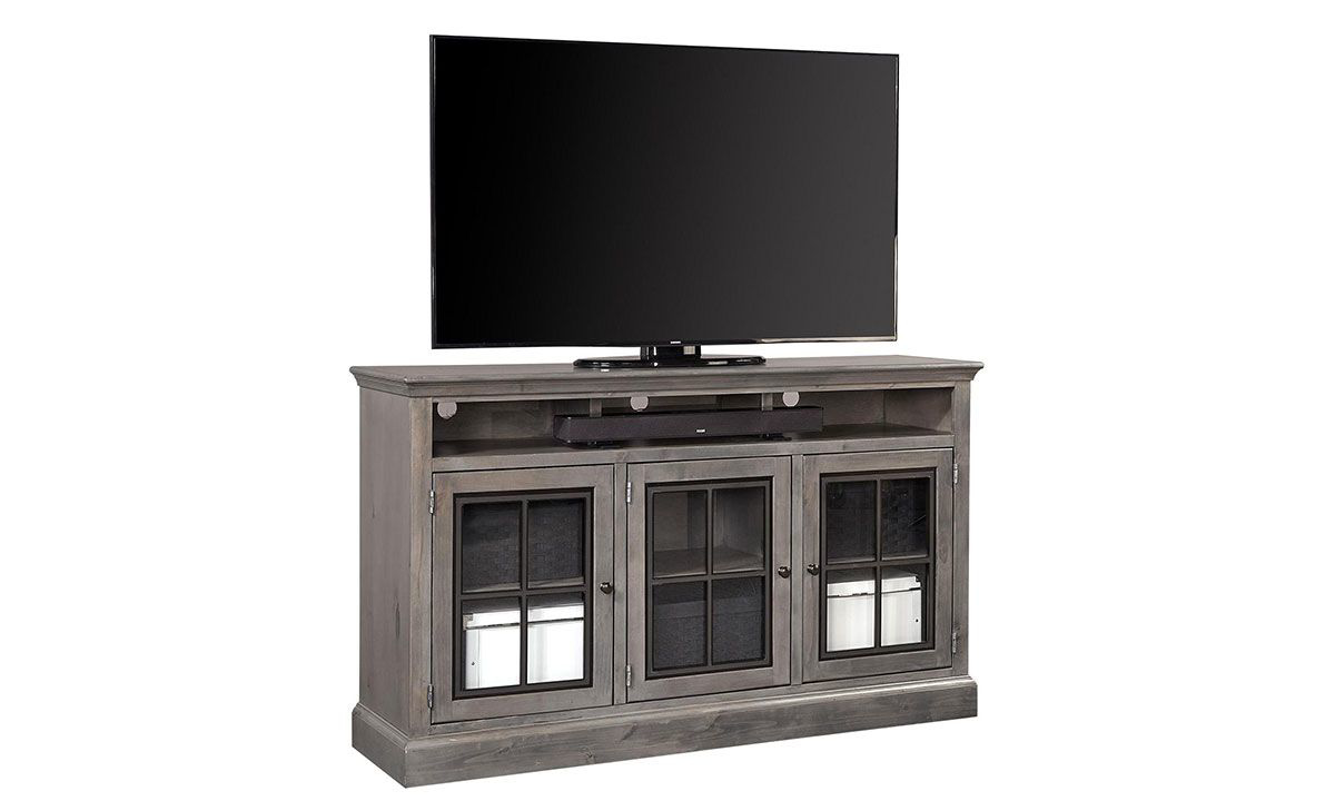 66-inch wide entertainment console with glass panel cabinets in smoky gray finish.