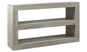 Contemporary 65-inch double open console table in wirebrushed heather gray finish
