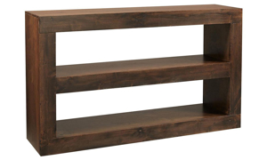 Modern 65-inch wide double open console table with two open shelves in tobacco brown finish