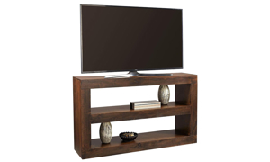 Contemporary 65-inch wide table with two open shelves used at TV stand in tobacco brown finish