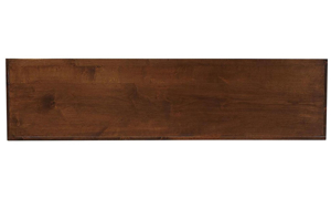 Close-up of tobacco brown finish on Aspenhome Nova Double Open Console Table