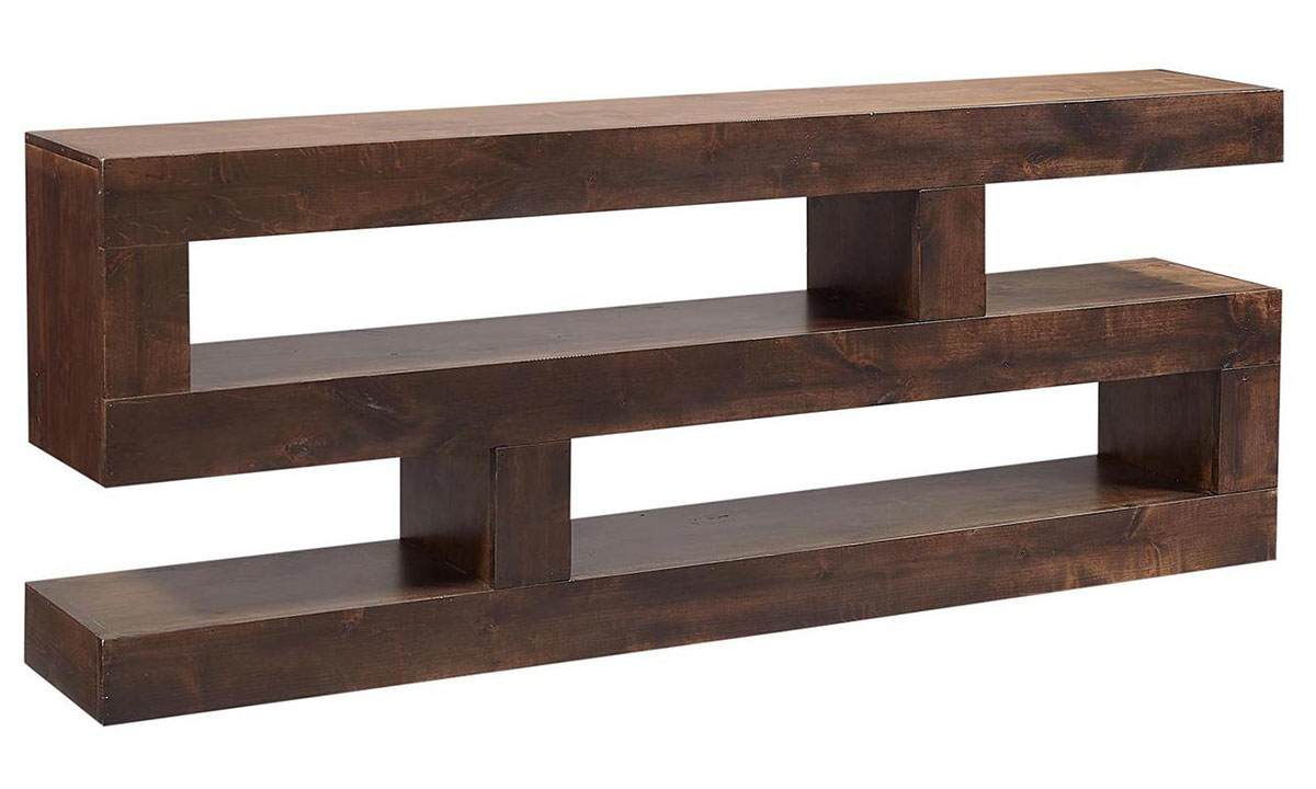 Modern 74-inch wide S-shaped console table with 2 open shelves in tobacco brown finish