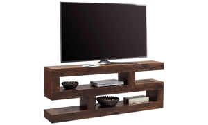 Contemporary 74-inch wide S-shaped console table with 2 open shelves used at TV stand in tobacco brown finish