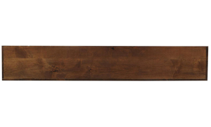 Close-up of tobacco brown finish on Aspenhome S-shaped console table