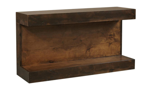 Modern 50-inch wide sofa table with overhang top and lower shelf in tobacco brown finish