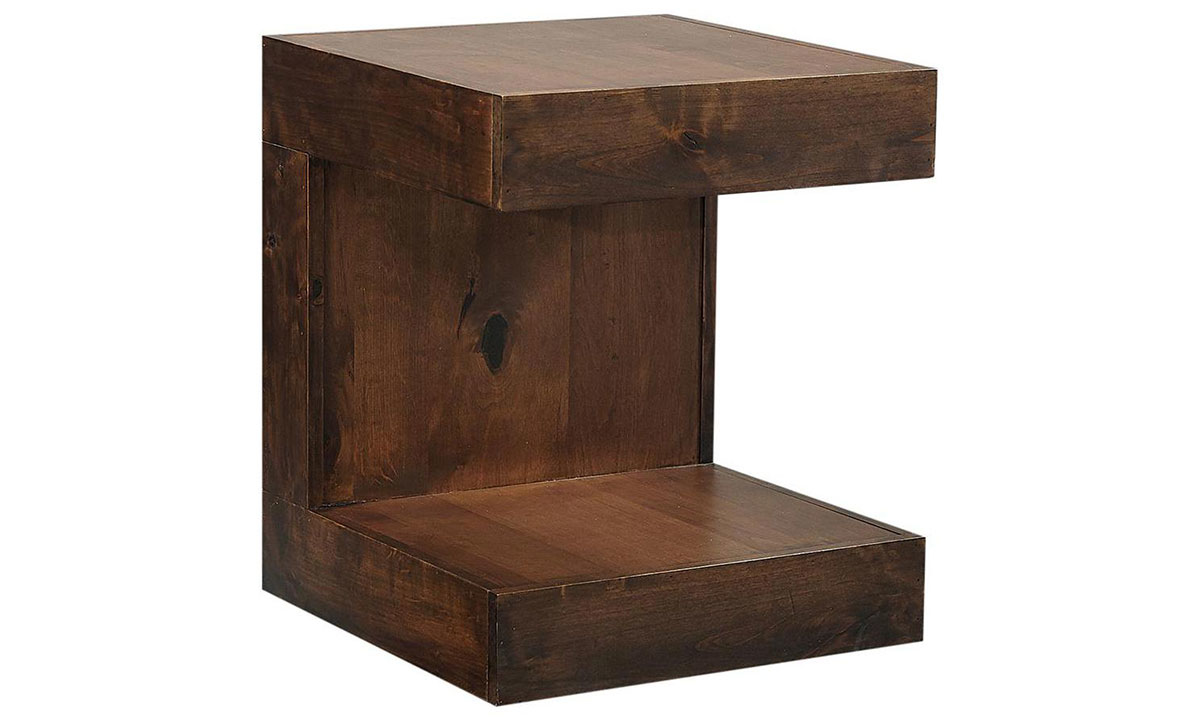 Modern 26-inch high end table with overhang top and lower shelf in tobacco brown finish.