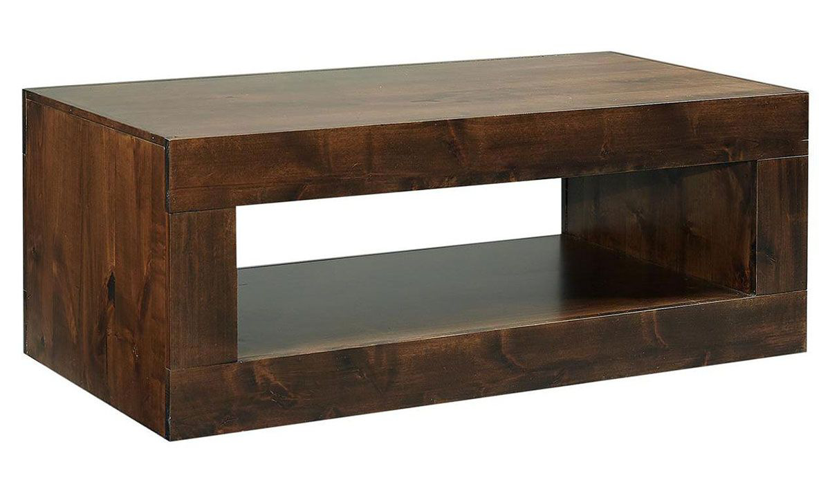Modern 49-inch cocktail table with open lower shelf in tobacco brown finish