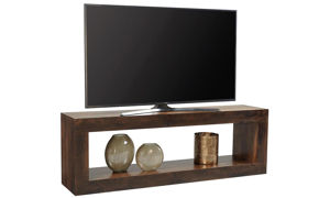 Contemporary 74-inch open console table with lower shelf in tobacco brown finish used at TV stand
