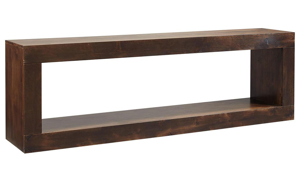 Modern 84-inch open console table with lower shelf in tobacco brown finish
