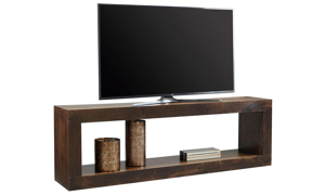 Contemporary 84-inch open console table with lower shelf used as TV stand in tobacco brown finish