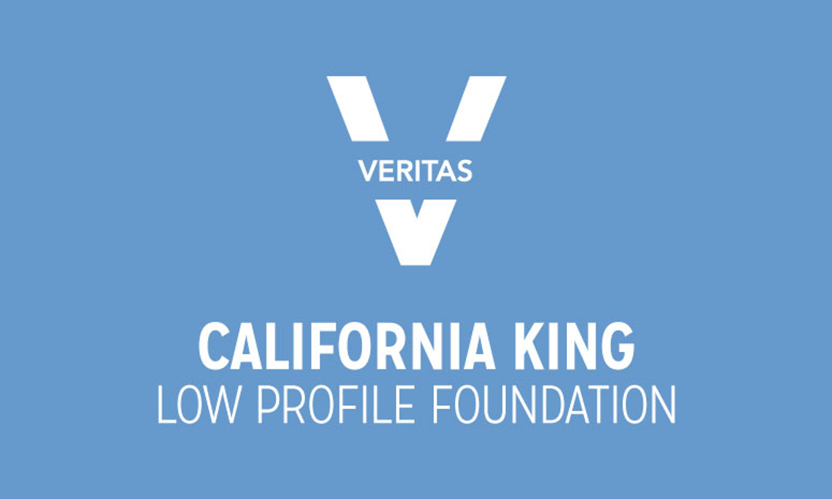 VERITAS California King Low Profile Foundation Logo in Blue and White