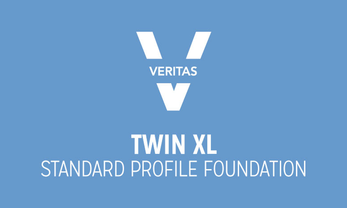 VERITAS Standard Twin XL Standard Profile Foundation Logo in Blue and White