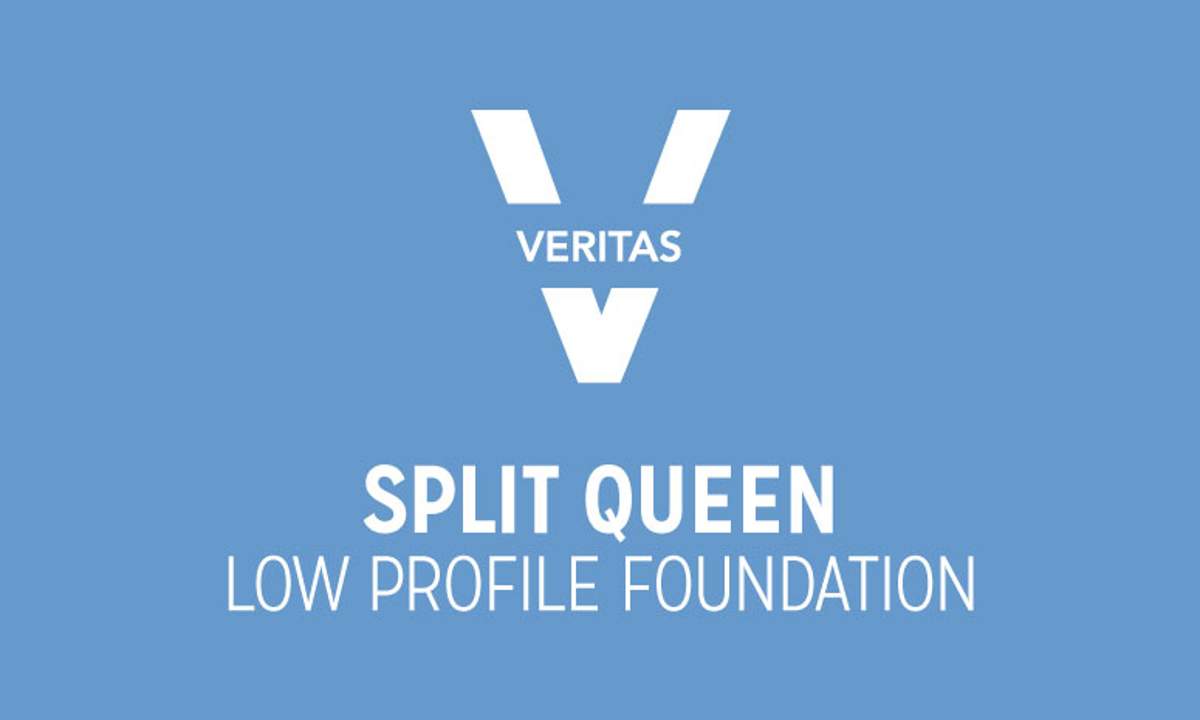 VERITAS Split Queen Low Profile Foundation Logo in Blue and White