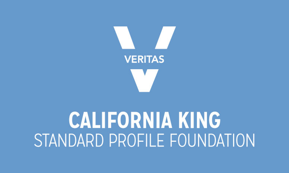 VERITAS California King Standard Profile Foundation Logo in Blue and White