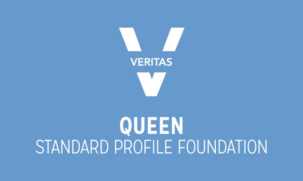 VERITAS Queen Standard Profile Foundation Logo in Blue and White