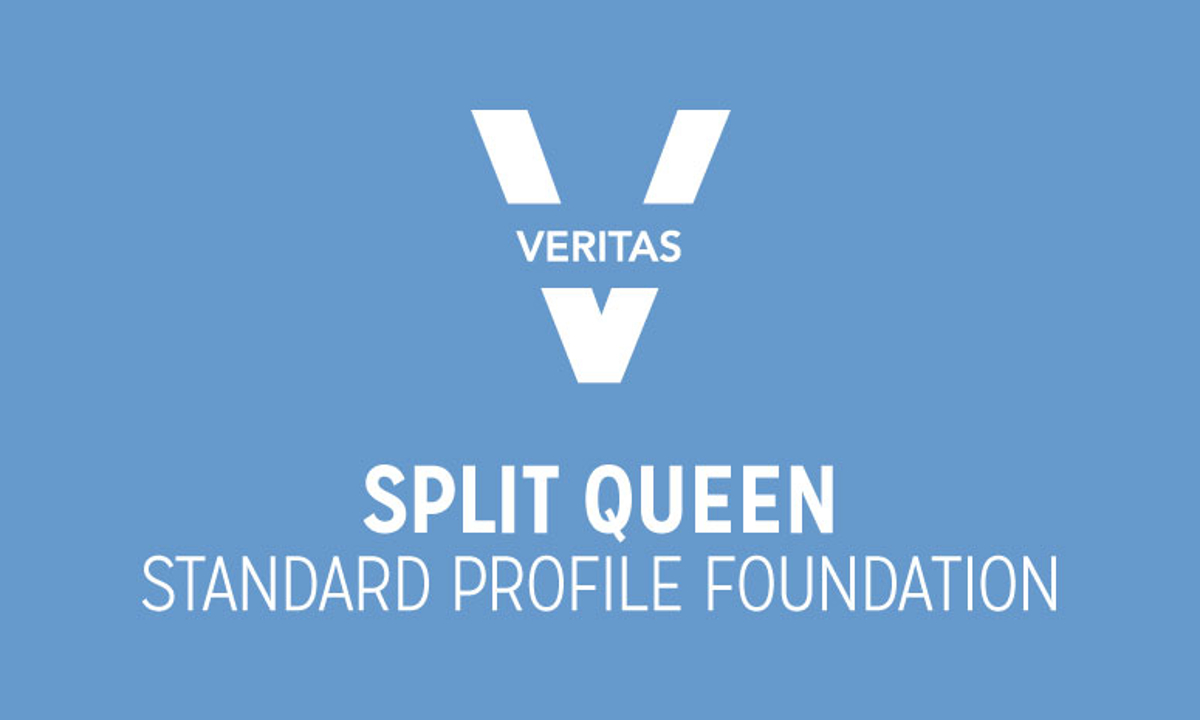 VERITAS Split Queen Standard Profile Foundation Logo in Blue and White
