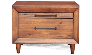 Contemporary solid pine 2-drawer nightstand with live edge in brushed brown finish in bedroom