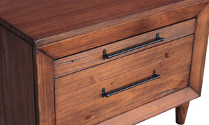 Closeup of solid pine 2-drawer live edge nightstand in brush brown finish with metal pull hardware