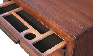Close-up of drawer organizer in solid pine 2-drawer nightstand in brushed brown finish