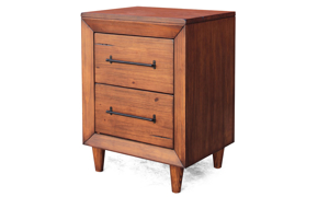 Angled shot of contemporary 22-inch solid pine nightstand with live edge and metal pull hardware in brushed  brown finish