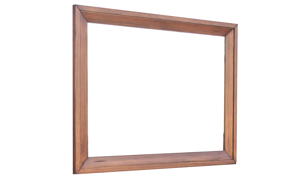Contemporary 46-inch wide mirror in solid Brazilian pine in warm brown finish