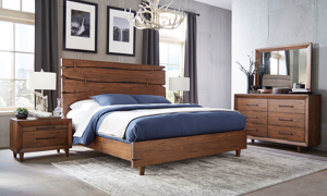 Contemporary solid pine live edge bedroom set with panel bed, dresser and mirror in warm brown finish
