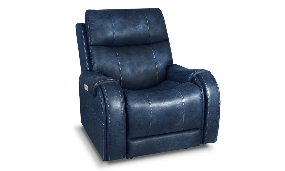 Moto Motion Power Leather Recliner Ocean Blue