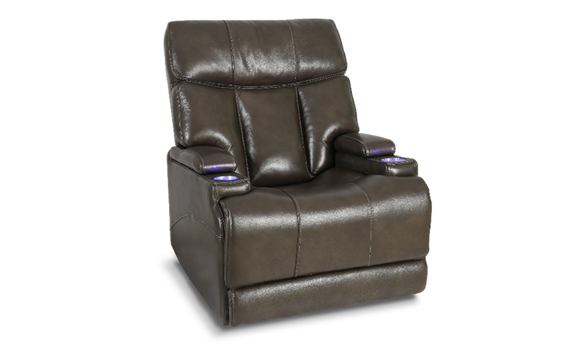 Moto Motion Power Leather Recliner Austin Brown