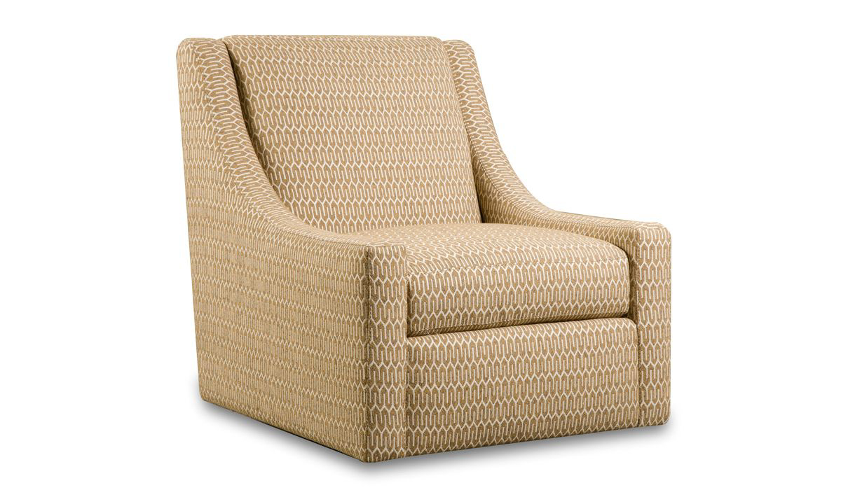 Gold patterned swivel accent chair with contemporary sloped armrests.