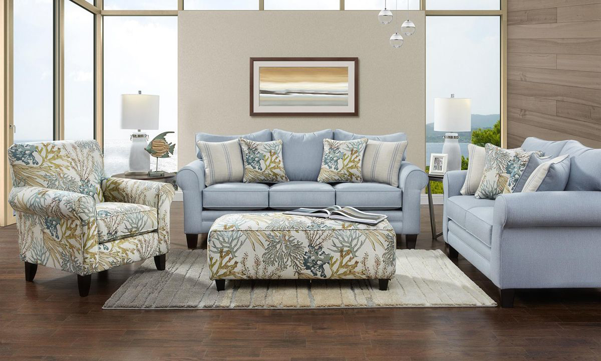Picture of Labyrinth Sky Handmade Roll Arm Sofa