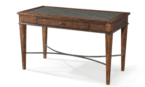 Elegant 52-inch writing desk with single drawer and writing pad in burnished wood finish