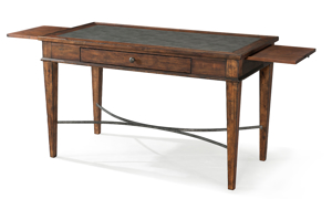 Elegant 52-inch writing desk with side extensions  and single drawer in burnished brown finish.