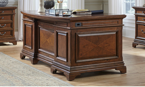 Traditional executive desk with moldings and 7 drawers in cherry finish -  Side View