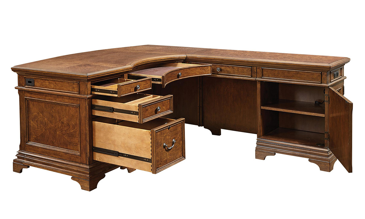 Executive L-shaped desk with left hand desk and right hand register in a cherry finish with bronze hardware	- open drawers