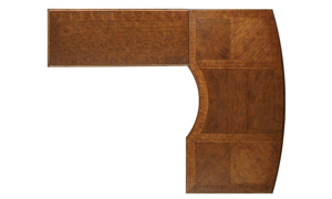 Top view of L-shaped desk with left hand desk and right hand register in cherry finish