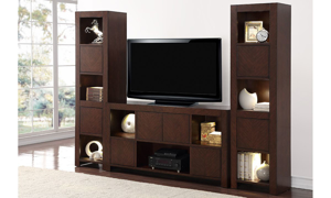 Picture of City Lights Walnut 3-Piece Entertainment Wall Unit