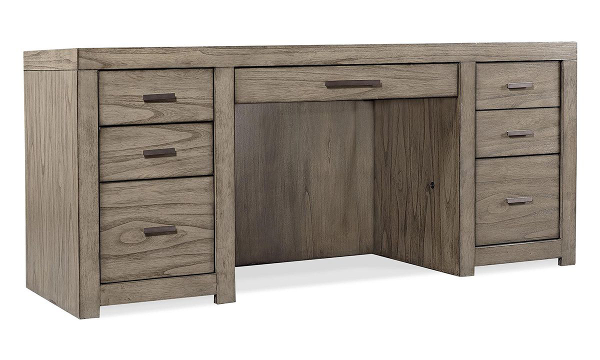 Modern 72-inch wide credenza with 7 drawers in greystone finish with USB charging.